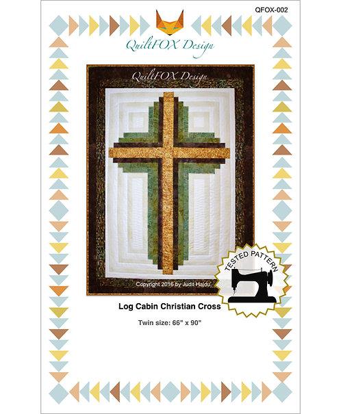 "Log Cabin Christian Cross, twin size: 66"" x 90"""