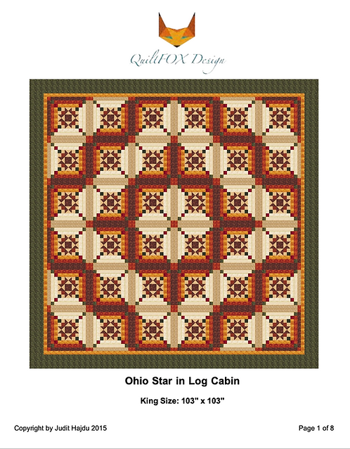 "Ohio Stars in Log Cabins - king size: 103"" x 103"""