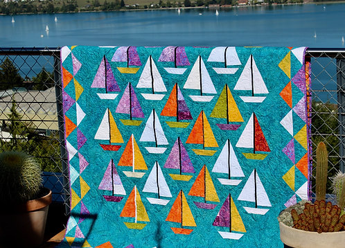 "Scrap Happy Sailboats, size: 60"" x 80"""