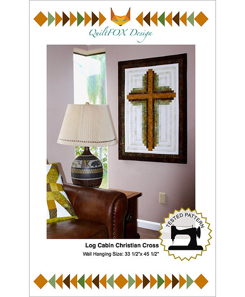 "Log Cabin Christian Cross, size: 33""x 45"""