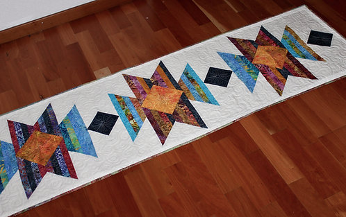 "Scrap Happy Squash Blossom - Twin size 60"" x 94"" and Table runner"