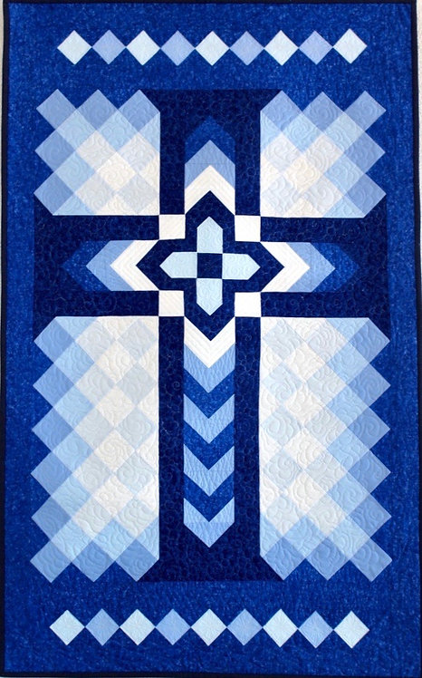"Chevron Cross, wall hanging size: 32"" x 52"""