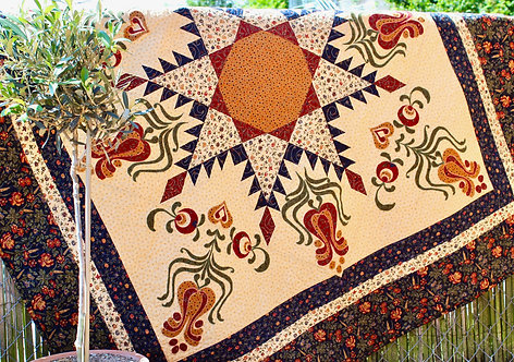"""Feathered Star withTulip applique, size: 62"""" x 62"""""""