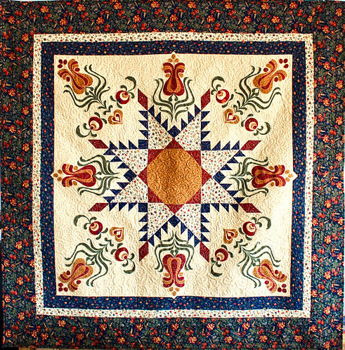 "Feathered Star with Tulip Applique, size: 62"" x 62"""