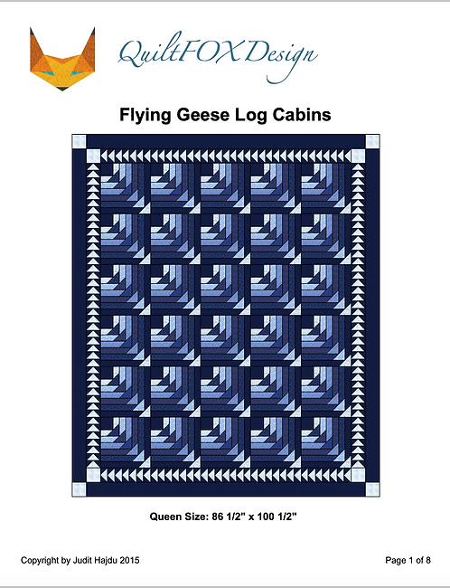 """Flying Geese Log Cabin, queen size 86"""" x 100"""""""