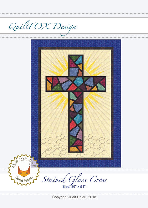 """Stained Glass Cross, size: 36"""" x 51"""""""
