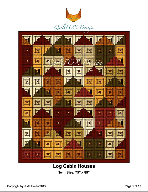 "Log Cabin Houses, size 75"" x 89"""