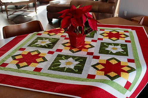 "Christmas Table Topper with Edelweiss Appliqué - size: 50"" x 50"""