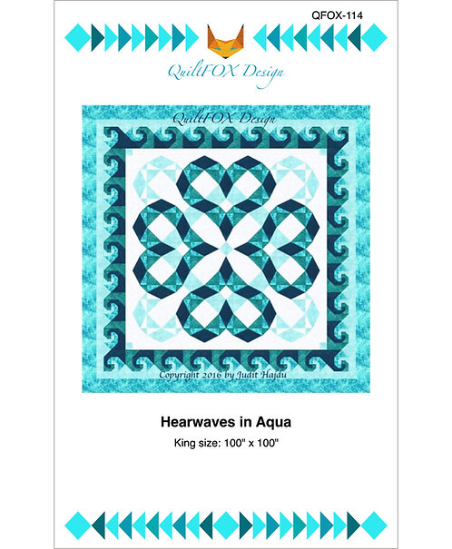 "Heartwaves in Aqua, king size: 100"" x 100"""