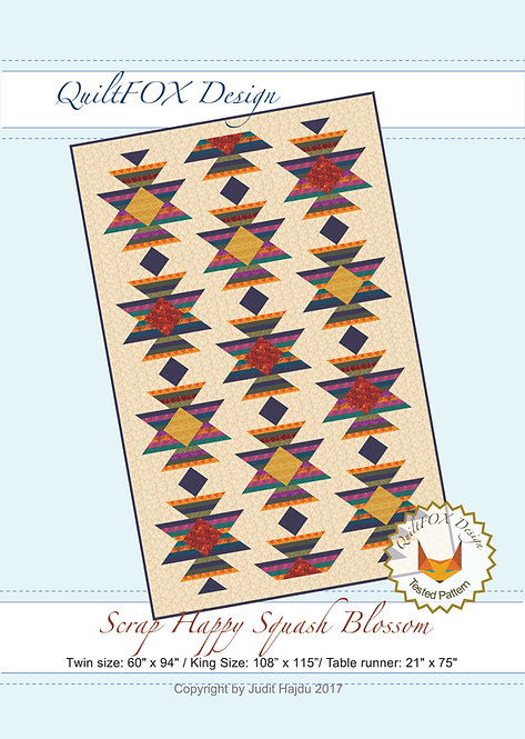 """Scrap Happy Squash Blossom - Twin size 60"""" x 94"""" and Table runner"""
