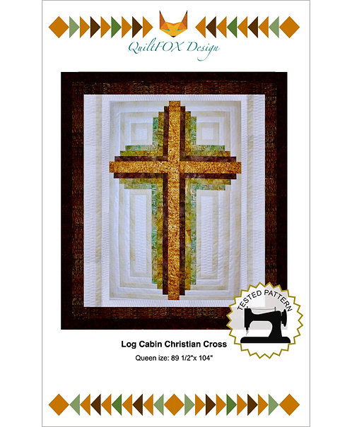 "Log Cabin Cross, queen size: 90"" x 104"""