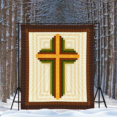 """Log Cabin Cross, queen size: 90"""" x 104"""""""