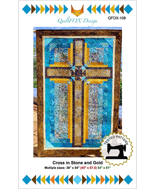 "Cross in Stone and Gold, sizes: 36"" x 54"" (45"" x 67.5) 54"" x 81"""
