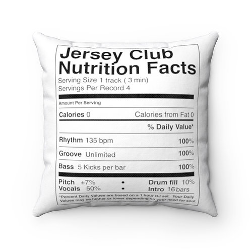 Jersey Club Nutrition Facts Studio Pillow