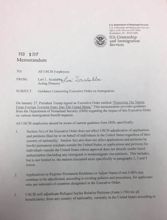 New Uscis Memo Adjustment Of Status And Refugeeasylee Petitions