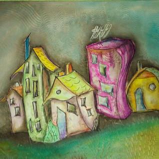 Häuser, MixedMedial Leinwand 50x70