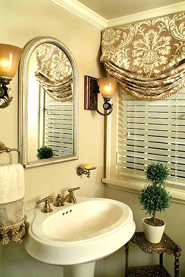 Bath remodel with custom window treatments