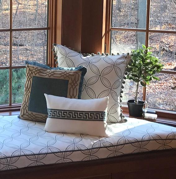 Close-up of custom made pillows
