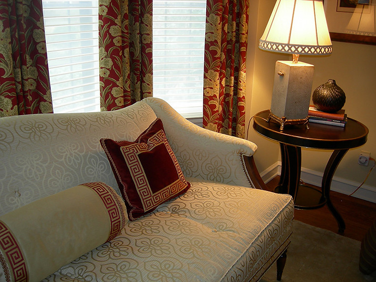 Custom sofa, pillows and window treatments