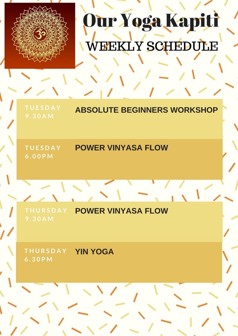 Our Yoga Kapiti 2018 Class Schedule