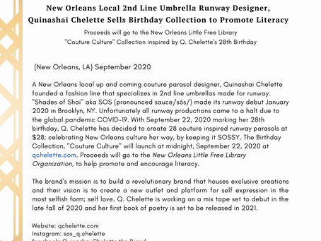 Local N.O. Umbrella Runway Designer Quinashai Chelette Sells Birthday Collection to Promote Literacy