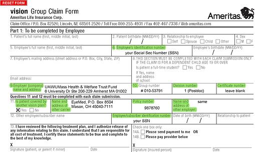 Ameritas Fusion - vision claim form PD a