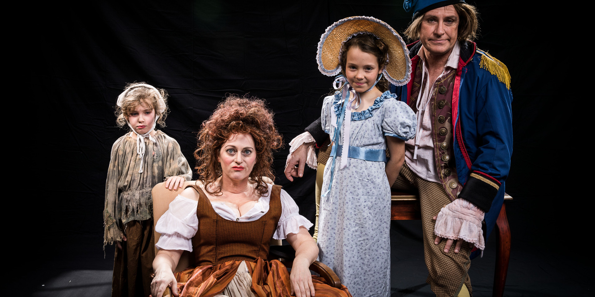 The Thénardiers (Monsieur and Madame Thénardier and Eponine Thénardier) with Cosette