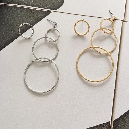 Asymmetric Triple Hoop Earrings