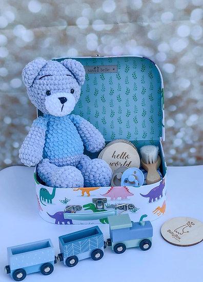 """Large box """"Blue-grey teddy plush"""""""