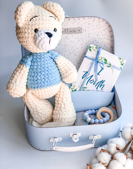 "Medium box ""Ivory-blue teddy"""