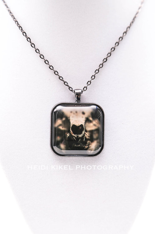 Pig Skull Photo Pendant Necklace
