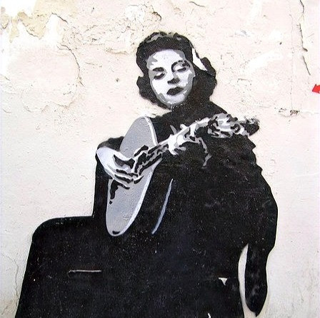 Street artwork of Amalia Rodrigues, Queen of Fado