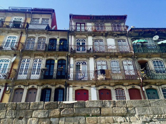 Buildings along the riverfront in Porto, Portugal