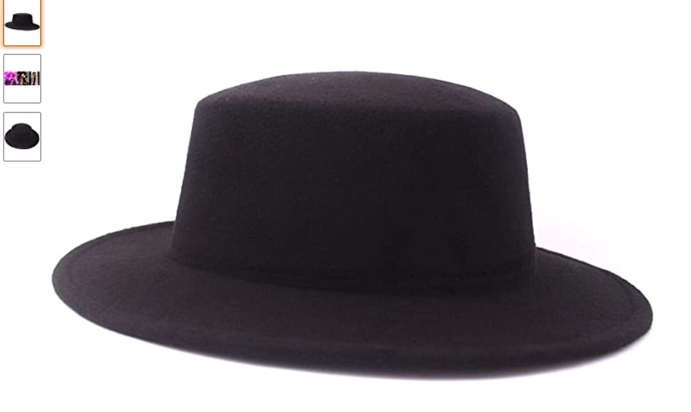Flat-rimmed black hat similar to what Fernando Pessoa wore