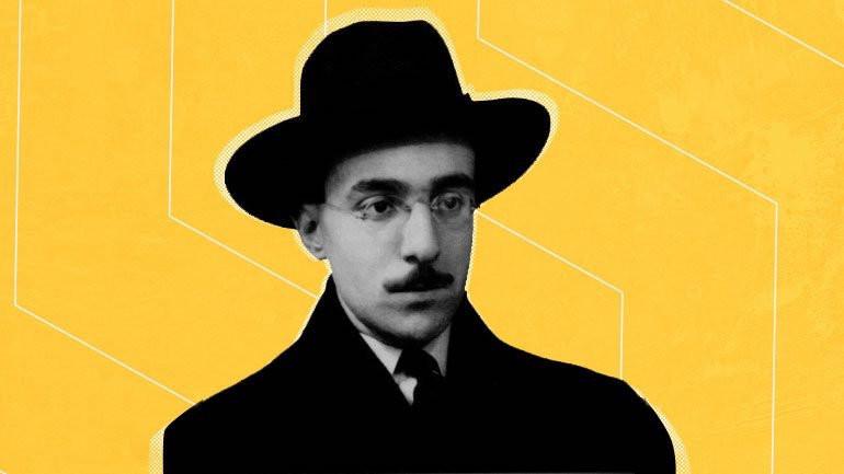 Fernando Pessoa against a yellow background