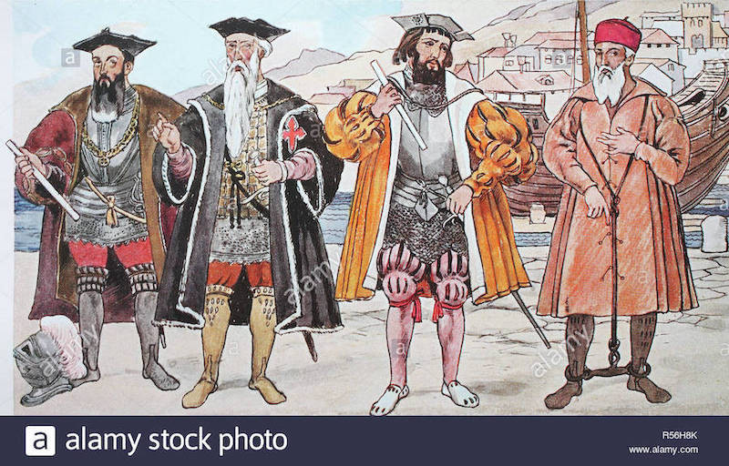 A drawing of four Portuguese explorers