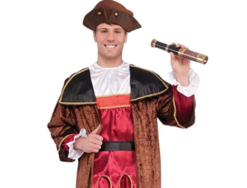 Man wearing a Christopher Columbus costume