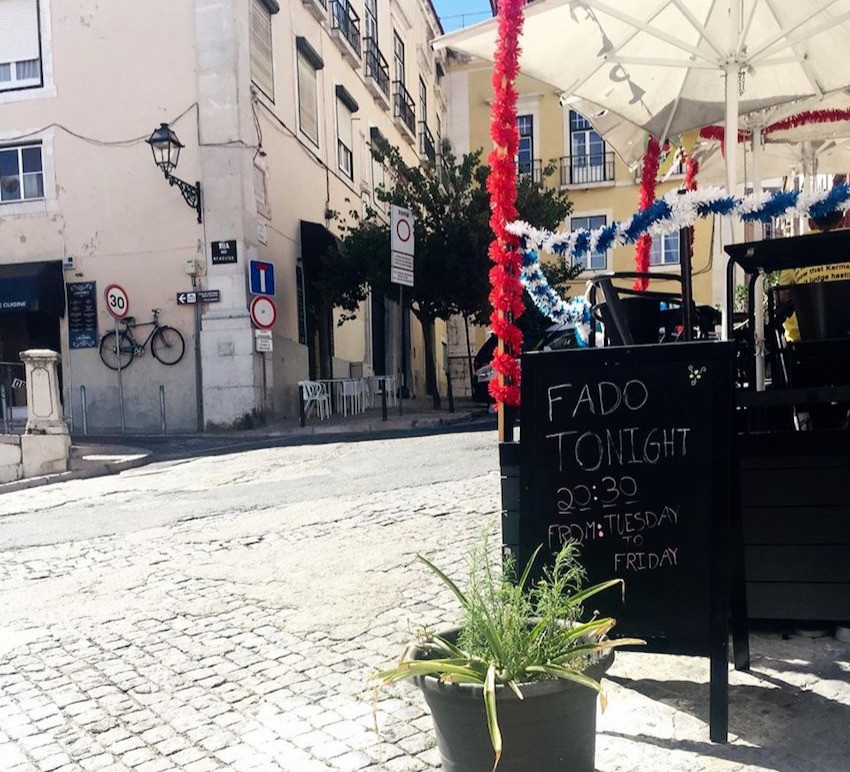 Fado being promoted at a local bar in Alfama, Lisbon.