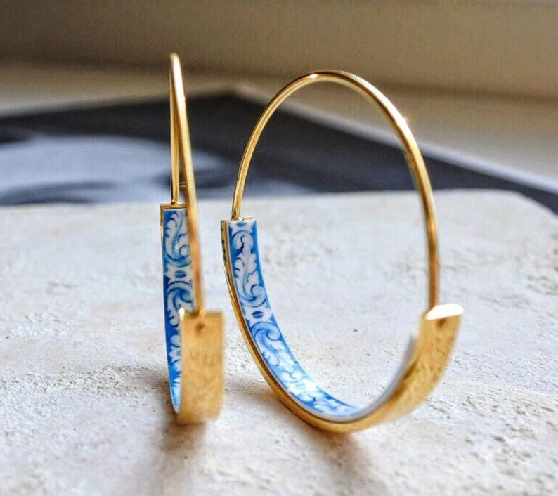 Portuguese tile earrings