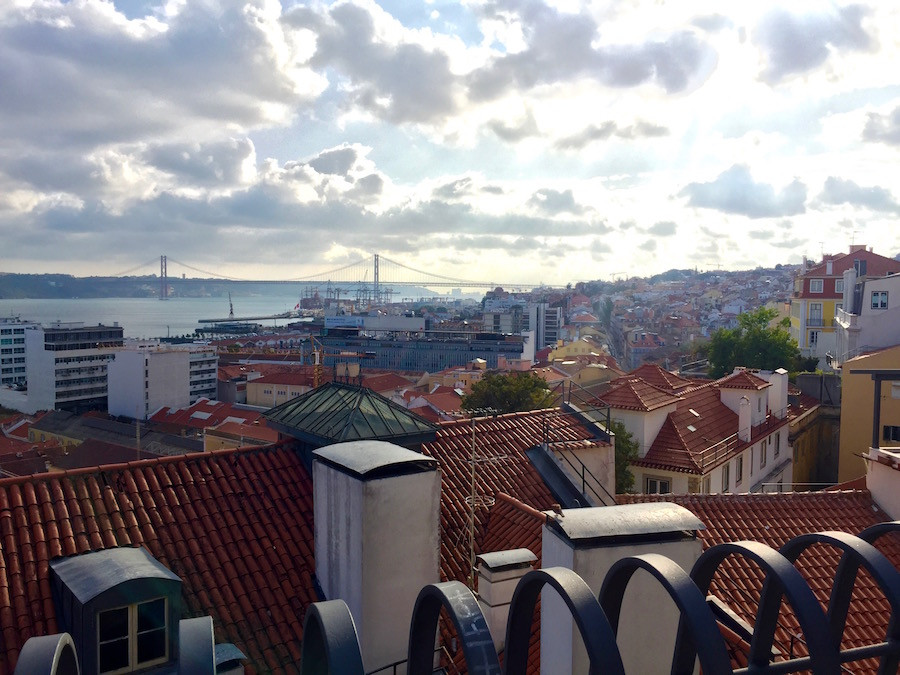 View of Lisbon and the Tejo River from the Chiado neighborhood on a cloudy day.