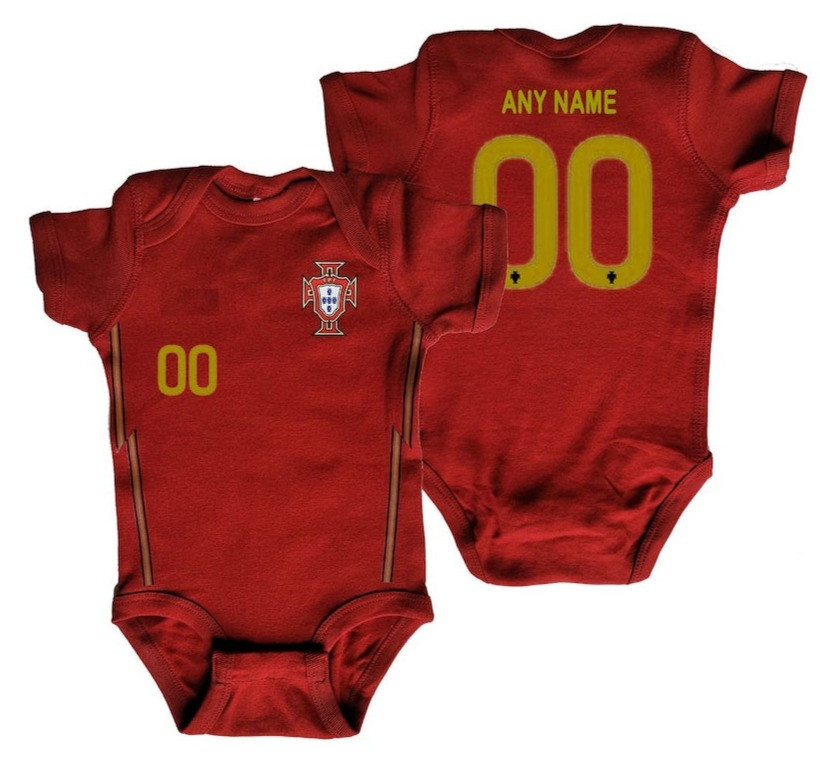 Customizable Portugal soccer baby onesie
