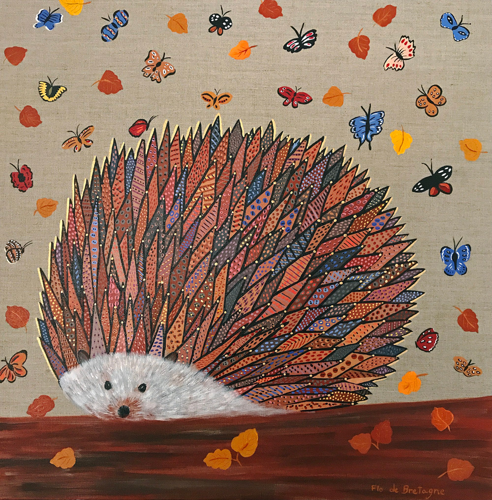 this square painting with very warm and earthy tones depicts a hedgehog with hundreds of quills, surrounded with colorful butterflies