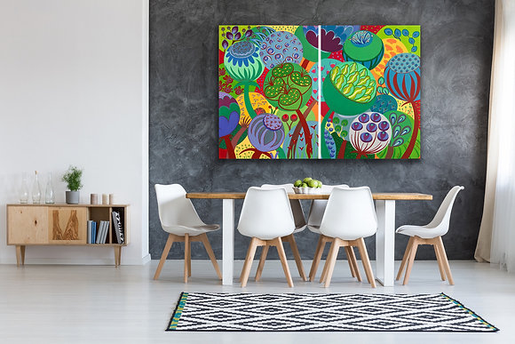 In a kitchen with white bistro chairs and a wooden table a painting of flowers with vibrant colors is popping up