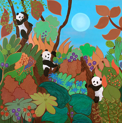 this painting shows three pandas playing joyfully in the forest, climbing and swinging on trees