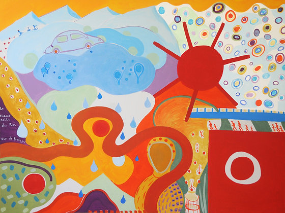 A cheerful and whimsical painting that features mountains, a curvy path, a car, rain drops, a trampoline and a Russian doll