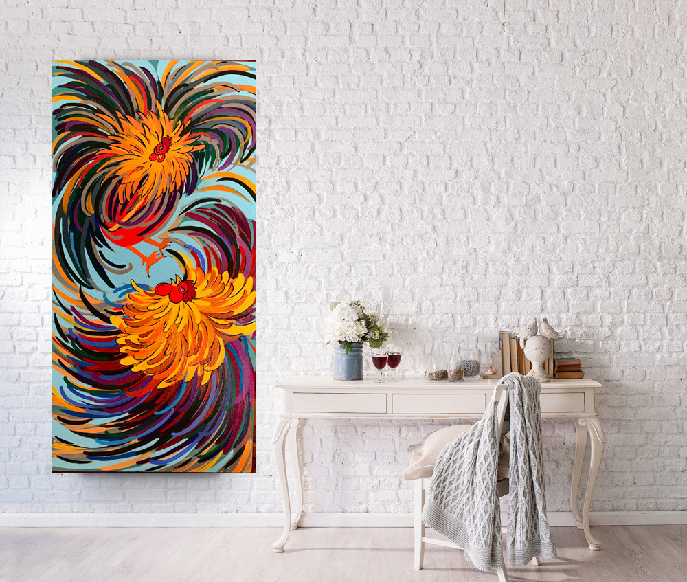 A tall painting depicting two cocqs fighting with vivid colors, is hanging next to a wooden table with two glasses of red wine