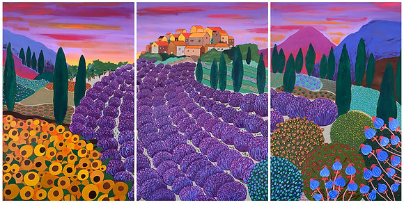 Triptych painting of Provence with lavender, sunflowers, cypress trees and a sunny village on a hill at sunset