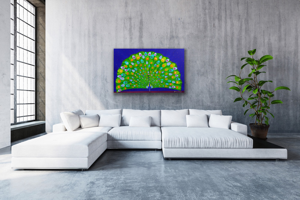 in a modern living room with a large bay window, a painting with vibrant blues and greens depict a peacock opening his tail
