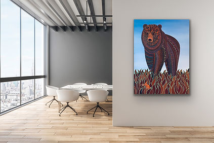 a portrait painting of a big brown bear is hanging on a grey wall in an office setting with white plastic chairs and table
