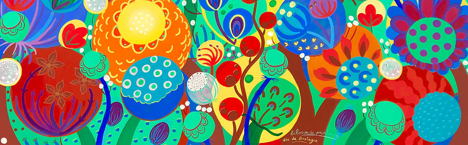 A painting by Flo de Bretagne that represents colorful seeds and flowers